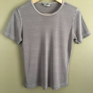 Vintage 90s Slinky Gray Sheer Striped Top by Clio